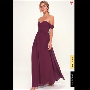 Burgundy Off-the-Shoulder Maxi Dress